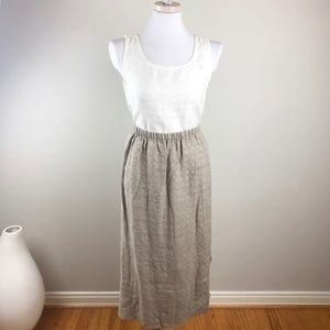 Eileen Fisher Textured Linen Box Midi Skirt